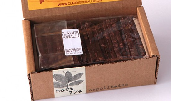 Chocolate 73½ % with pieces of cacao beans