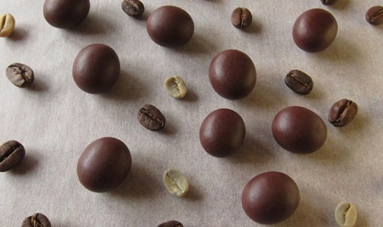 Roasted coffee beans covered with 55% chocolate