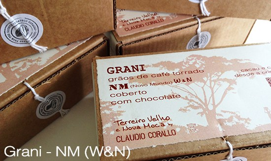 Arabica coffee beans, variety Novo Mundo (NM), W & N roasted and covered with 55% chocolate